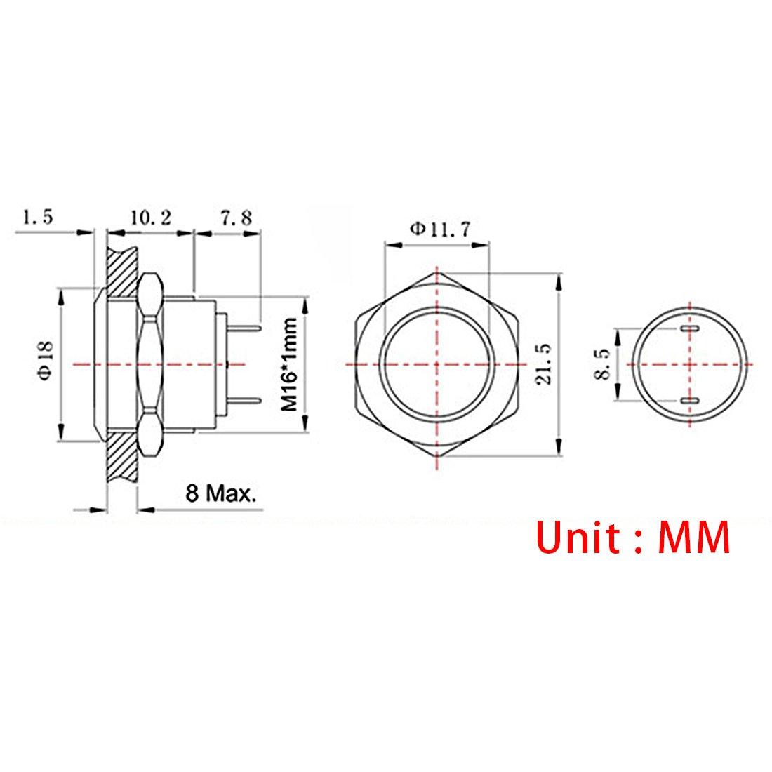 Larcele 5 piezas Impermeable Momentáneo Pulsador Empujar Botón Mini Pulsador Metal JSANKG-01 (16mm,Momentáneo): Amazon.es: Bricolaje y herramientas