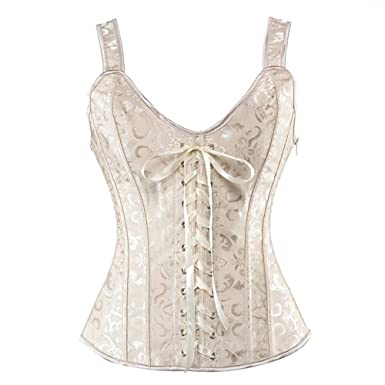 48271a8bba7 MISS MOLY Women Gothic Jacquard Straps Overbust Corset Top Sexy Bones Tank Lace  up Bustiers Beige