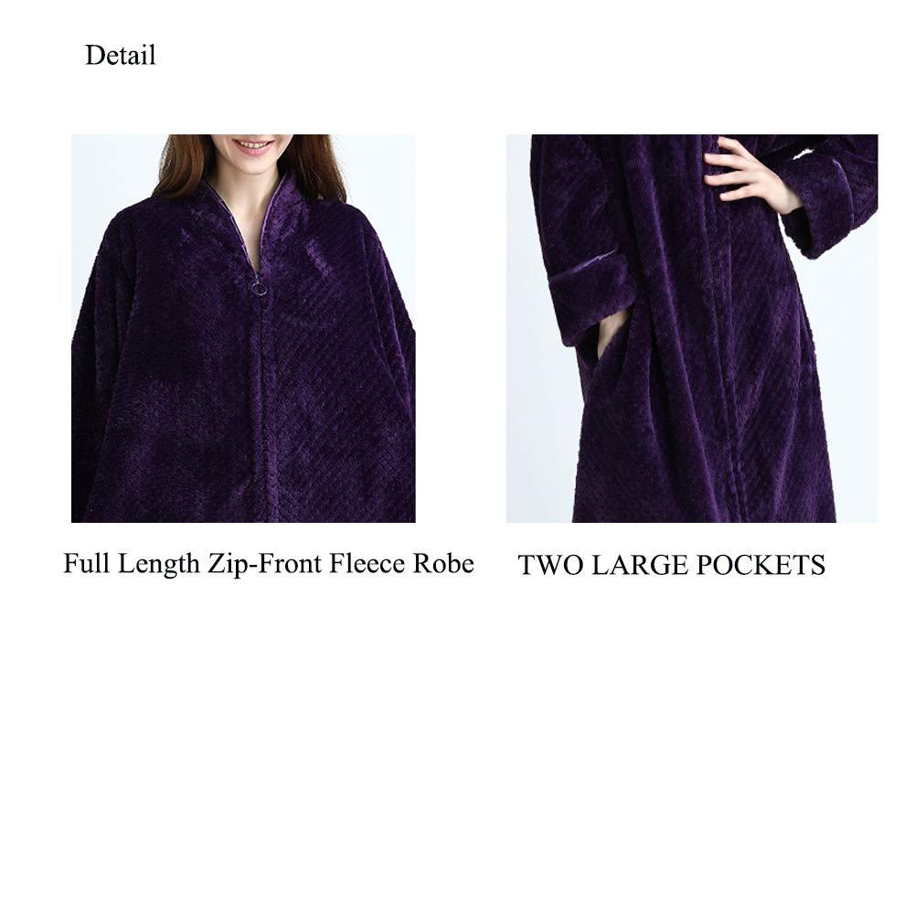 Vim Tree Womens Full Length Zip-Front Fleece Robe Long Sleeve Zipper Bathrobe