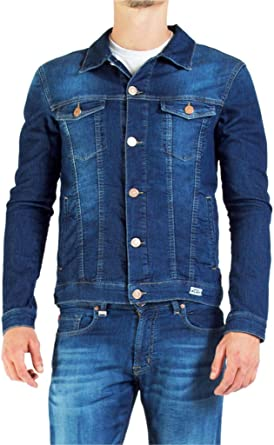 TALLA ES L (talla del fabricante: IT L). Carrera Jeans - Abrigo Jeans 430 para Hombre, Estilo Western, Tejido Extensible, Ajustado, Manga Larga