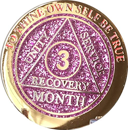 RecoveryChip 3 Month AA Medallion Reflex Pink Glitter Gold and Silver Plated Chip 90 Days ()