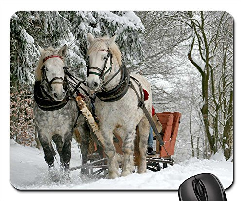 Mouse Pads - Sleigh Ride Horses The Horse Winter Snow (Mouse Sleigh)