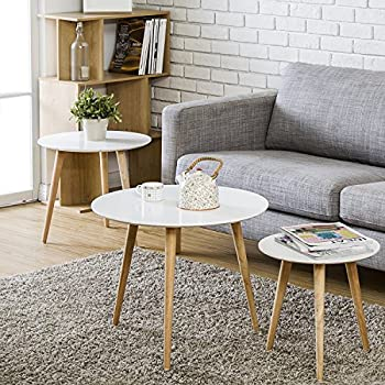 Homury Wood Coffee Table Round Set of 3 End Side Table Nesting Corner Table Telephone Sofa Tea Table Night Stand,White
