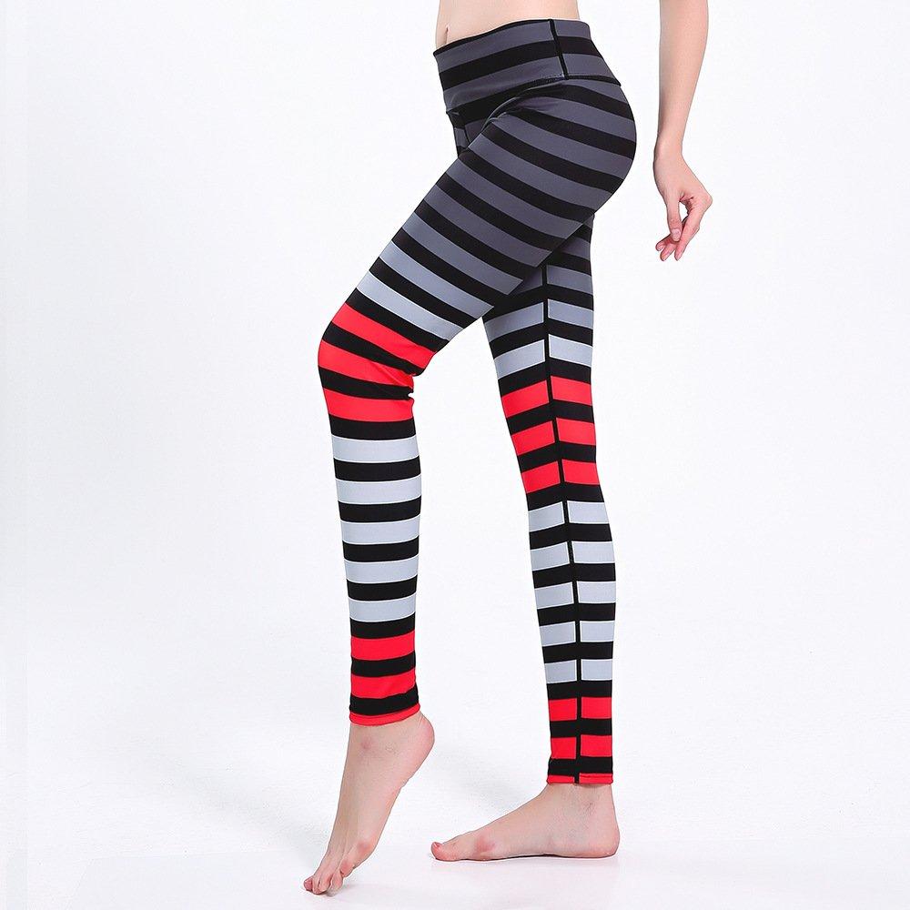 MAOYYMYJK Mehrfarbige Streifen Schlanke Hüften Bewegung Atmungsaktiv Super Elastisch Schnell Trocknende Damen Neun Punkte Yogahosen Yoga-Hose für Damen