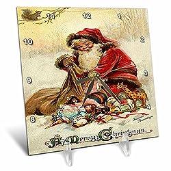 3dRose dc_46994_1 Vintage Christmas Christmas, Santa Claus, Xmas, Vintage, Merry Christmas, Nostalgic, Holiday Desk Clock, 6 by 6-Inch