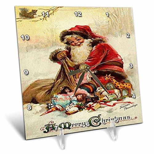 Cheap 3dRose dc_46994_1 Vintage Christmas Christmas, Santa Claus, Xmas, Vintage, Merry Christmas, Nostalgic, Holiday Desk Clock, 6 by 6-Inch