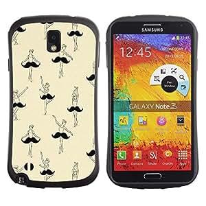 Suave TPU GEL Carcasa Funda Silicona Blando Estuche Caso de protección (para) Samsung Note 3 / CECELL Phone case / / ballet ballerina moustache funny art /