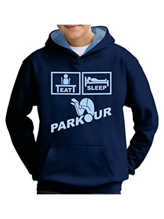 d4c199885672c4 Kids Parkour Free Running Hoodie French Navy   Sky Blue - Lt Sky Print Age  3 - 4 Chest 26  Amazon.co.uk  Clothing