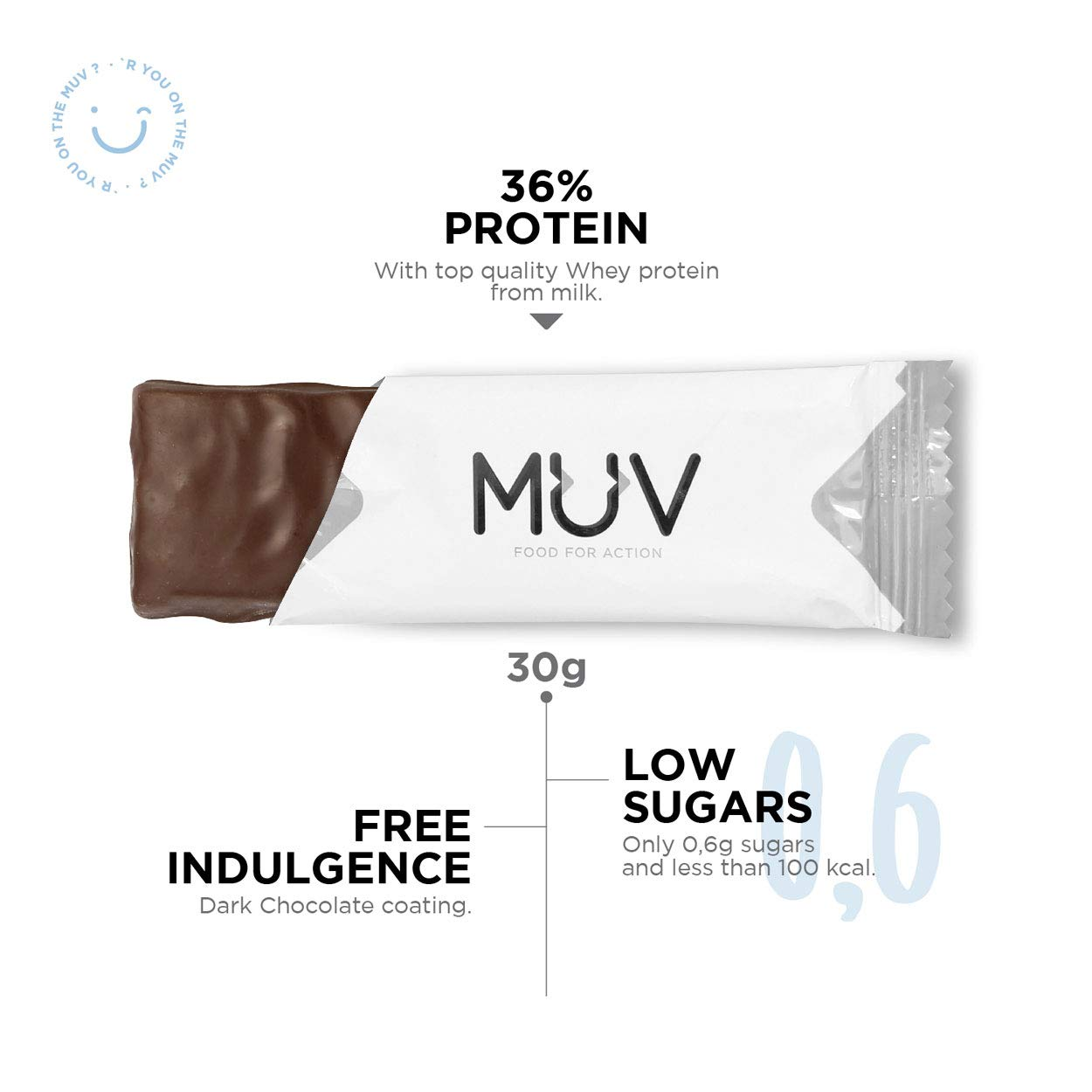 Muv Food For Action - Barras de proteína bajas en azúcar con chocolate y caramelo, 12 unidades de 30 g
