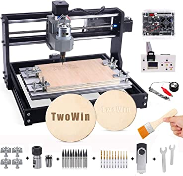 Ovovo CNC 3018 Pro CNC Router Kit 3 Axis CNC Router Machine GRBL Control Plastic Acrylic PCB PVC Wood Carving Milling Router Engraver With Offline Controller XYZ Working Area 300 x 180 x 45mm