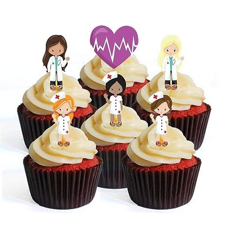 Adornos comestibles para cupcakes, diseño de niña y enfermera ...