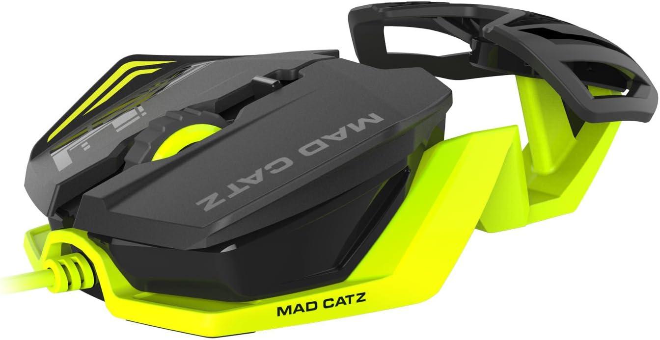 Mad Catz RAT 1 - Ratón Gaming (6 Botones,3500 dpi, USB), Negro y Amarillo