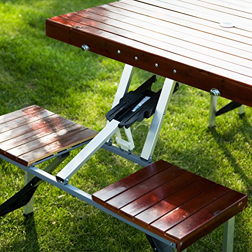 kinbor wooden garden portable suitcase folding outdoor picnic table set w 4 chairs get. Black Bedroom Furniture Sets. Home Design Ideas