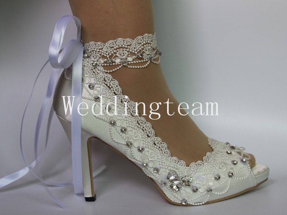 white ivory lace pearls open toe Wedding prom shoes bride size 5-9.5