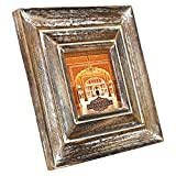 Indian Heritage Wooden Photo Frame 4x4 Mango Wood Molding Design in Dark wood with Whitewash Finish