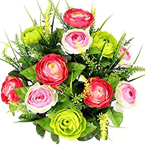 Admired By Nature 22 Stems Artificial Ranunculus & Fillers Mixed Flowers Bush for Home office, Restaurant, Wedding Decoration, Velvet/Pink/Kiwi