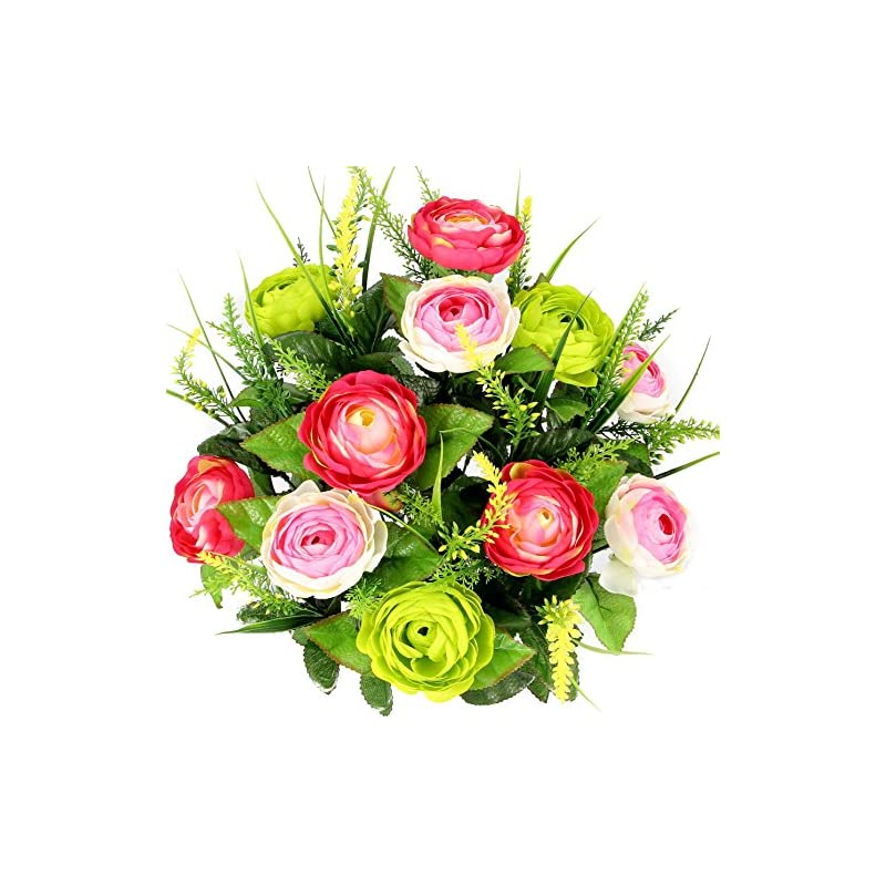 silk flower arrangements admired by nature 22 stems artificial ranunculus & fillers mixed flowers bush for home office, restaurant, wedding decoration, velvet/pink/kiwi