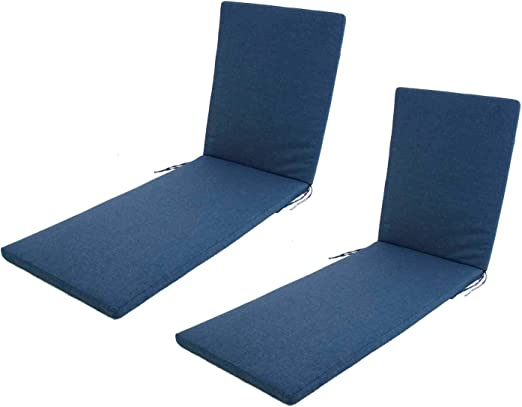 Edenjardi Pack 2 Cojines para Tumbona de Exterior estándar Olefin Color Azul, Tamaño 196x60x5 cm, No Pierde Color, Desenfundable: Amazon.es: Jardín