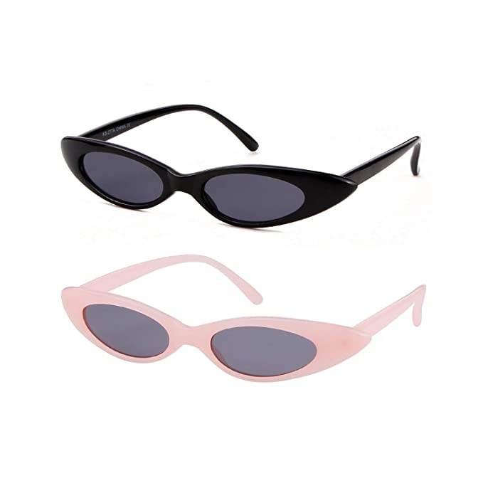 fb1ddd26f Vintage Oval Cat Eye Sunglasses Narrow Mini Skinny Slim Round Clout Googles  (2Pack Black&Pink,