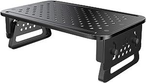 ATUMTEK Monitor Stand Riser [Aeronautical Grade Aluminium] 3 Height Adjustable Desktop Stand with Mesh Platform for Computer, Laptop, iMac, Printer, Small Projector and More