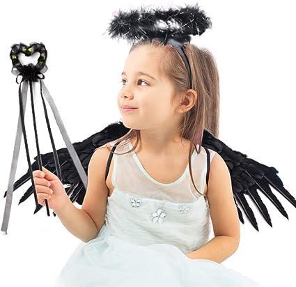 Gkood alas de hada de ángel negro con halo y varita, ángel oscuro ...