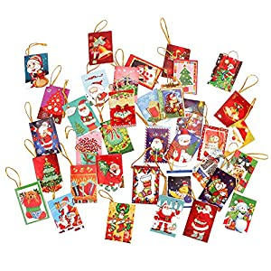 Yarssir 36pcs Small Cute Christmas Cards Collection Christmas Greeting&Gift Cards Assortment in Bulk Decorative Christmas Tree&House