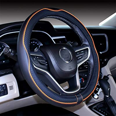 DuoDuoBling Genuine Leather Steering Wheel Cover 15 Inch for Men 2020 New Automotive Cute Jeep Car Interior Accessories (Orange): Automotive
