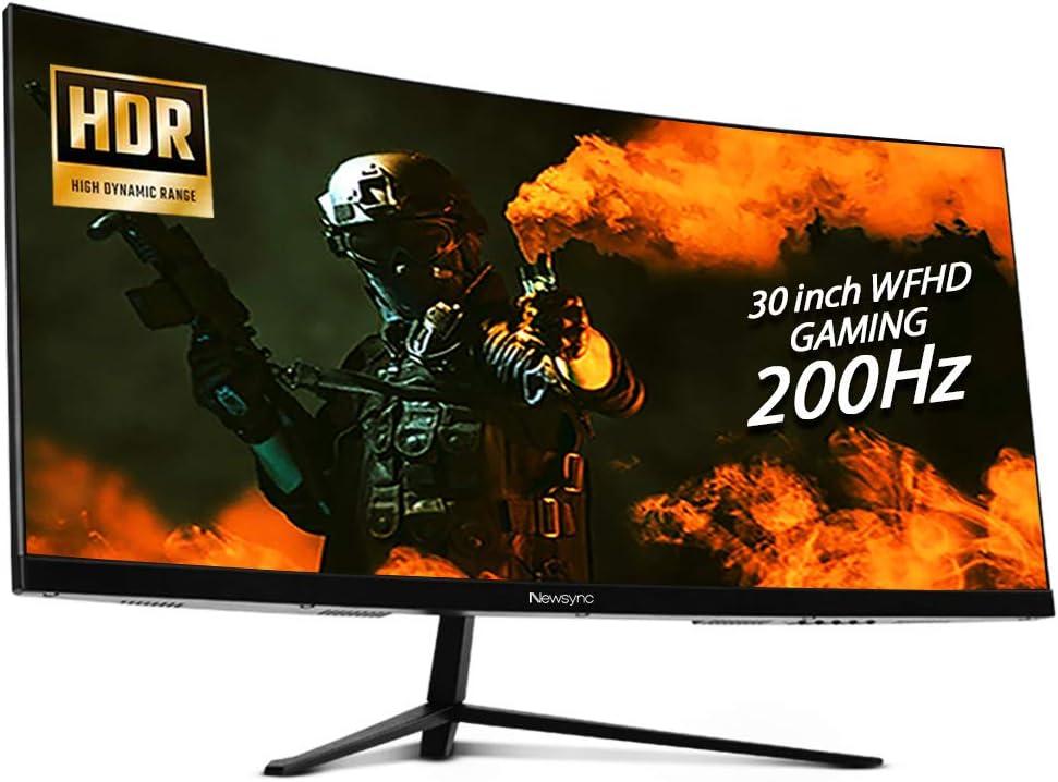 NEWSYNC Monitor de juego ultra ancho de 30 pulgadas curvo 200 Hz 2560 x 1080p LED 21:9 (HDR Adaptive-Sync AMD FreeSync sin parpadeo FPS-RTS de baja luz azul de visión cruzada PIP/PBP)