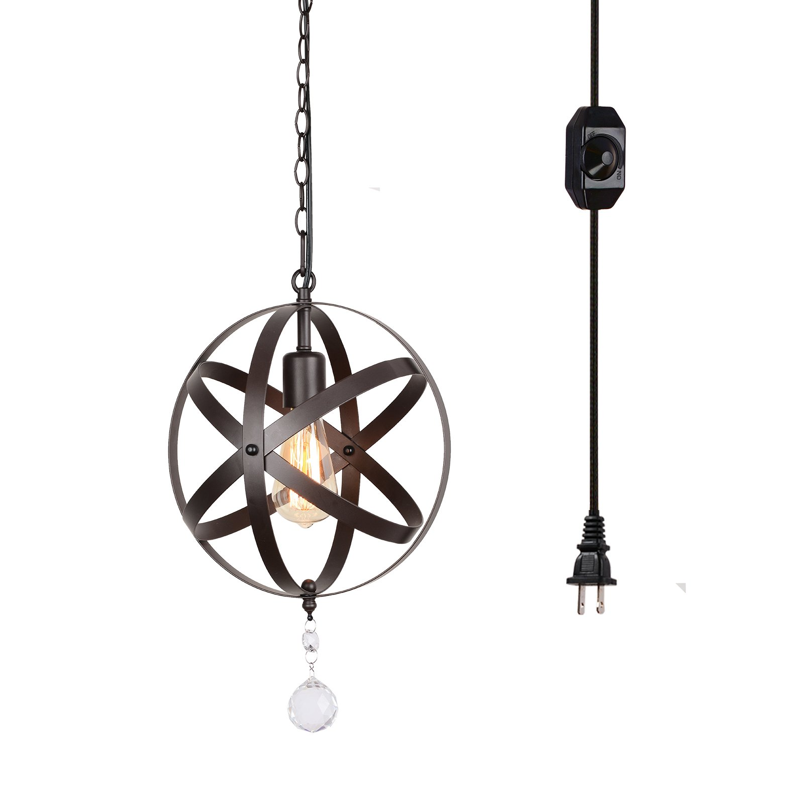 Creatgeek Industrial Globe Chandelier with 15 Ft Plug in Cord, Metal Hanging Chain and On/Off Dimmer Switch, Perfect Vintage Oil Rubbed Bronze Orb Swag Pendant Lights for Home Decor