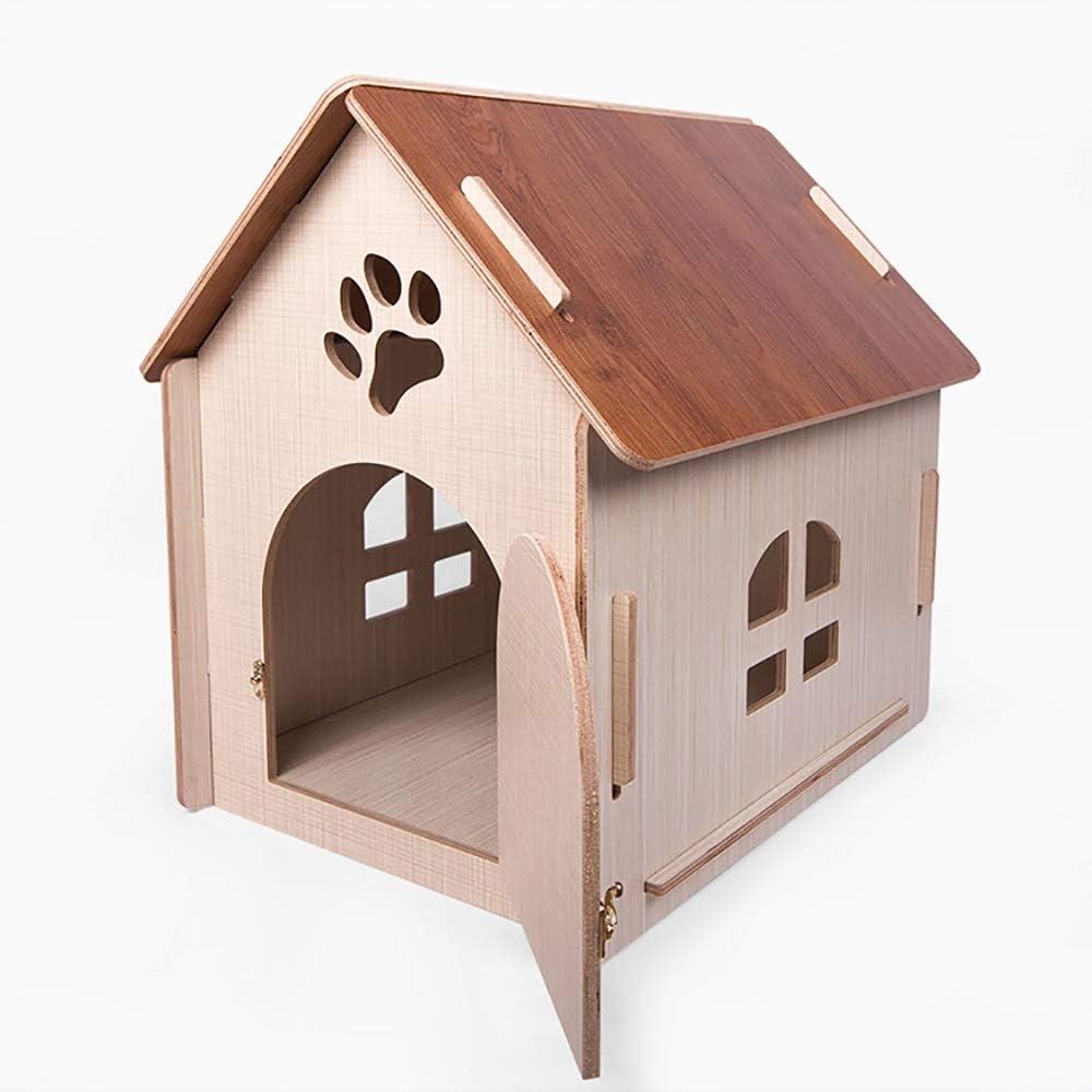 犬小屋 ペットキャットハウス 木製犬猫ペットハウス洞窟ベッド - 犬のための屋内または屋外での使用 木製ペットハウス (色 : Natural, Size : 51x37x52cm)