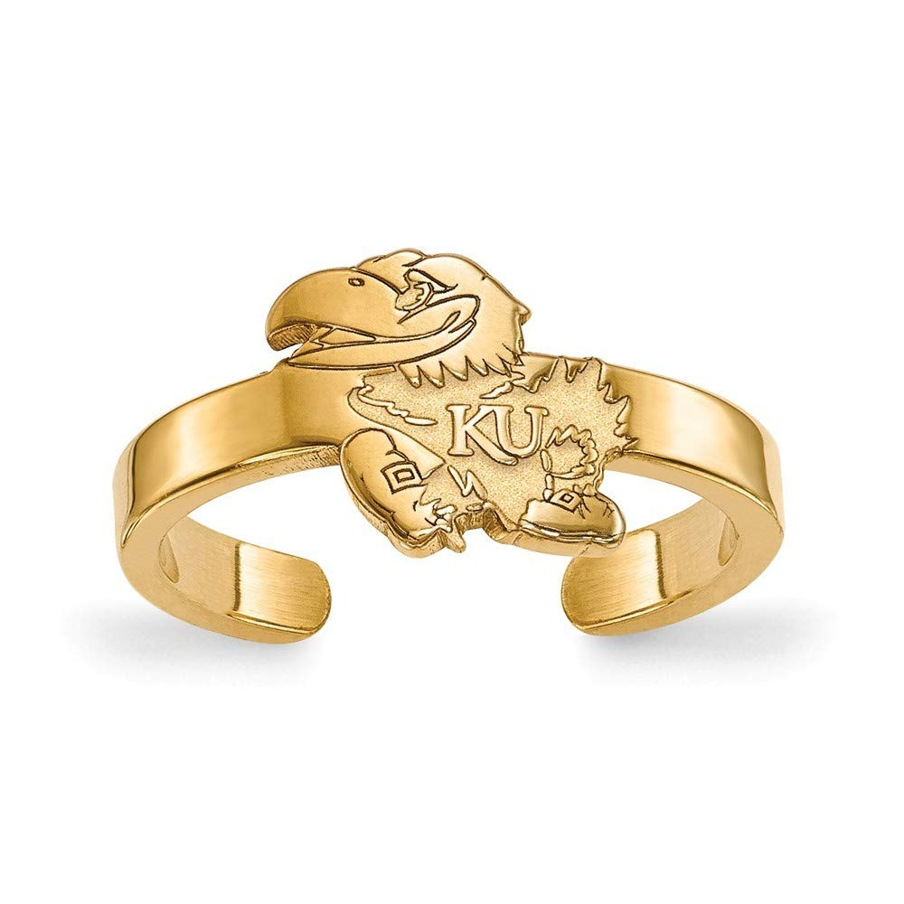 Roy Rose Jewelry Sterling Silver with 14K Yellow Gold-Plated LogoArt University of Kansas Toe Ring