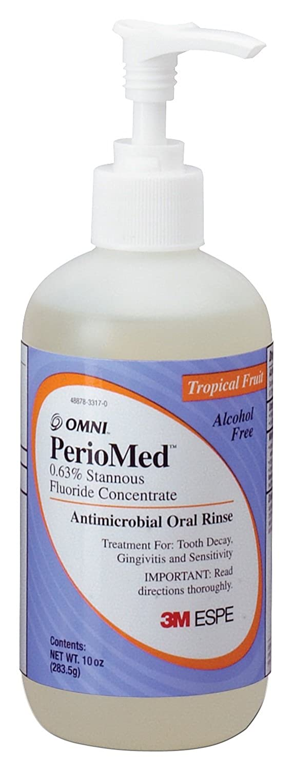 3M ESPE 12105F PerioMed 0.63% Stannous Fluoride Oral Rinse Concentrate Refill, Tropical Fruit Flavor, 10 oz. Bottle with Pump
