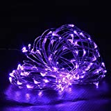 Waterproof String Lights,MORECOO 9.8ft/3M 60LEDs Silver Wire Starry String Lights Battery Powered ,Decor Lights For Weddings, Party, Outdoor Wall, Home, Holiday Decorations (Purple)