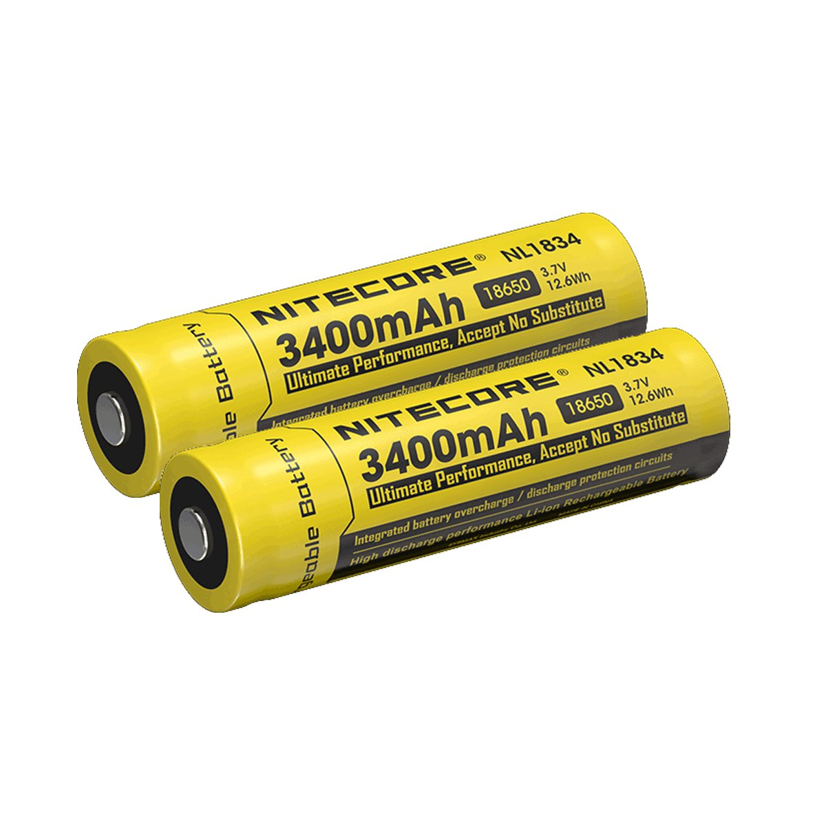 TWO Nitecore NL1834 3400mAh Protected Rechargeable 18650 Batteries - Designed for LED Flashlights