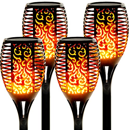 "Walensee Solar Lights Outdoor Upgraded 43""(4 PACK) 96 LED Waterproof Flickering Flames Torch Lights Outdoor Solar Spotlights Landscape Decoration Lighting Dusk to Dawn Auto On/Off Security Torch Light"