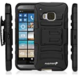 Fosmon STURDY Shock Absorbing Dual Layer Hybrid Holster Cover Kickstand Case for HTC One M9 (Black)