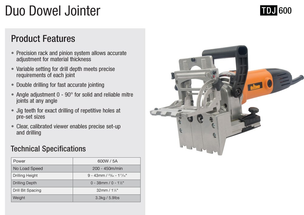 Triton TDJ600 Duo Dowelling Jointer 710W, 5.9A by Triton (Image #8)