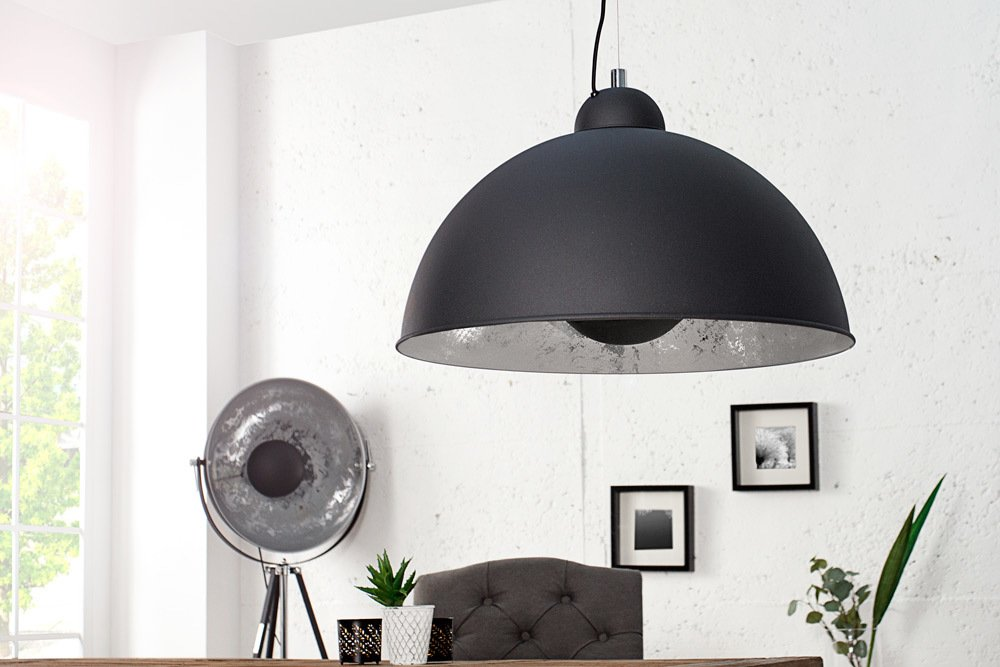 Moderne hängelampe studio schwarz silber lampe blattsilber optik