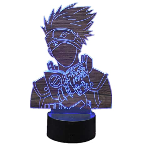 Anime Naruto Hatake Kakashi 3D Stereo Vision LED Night Light Home