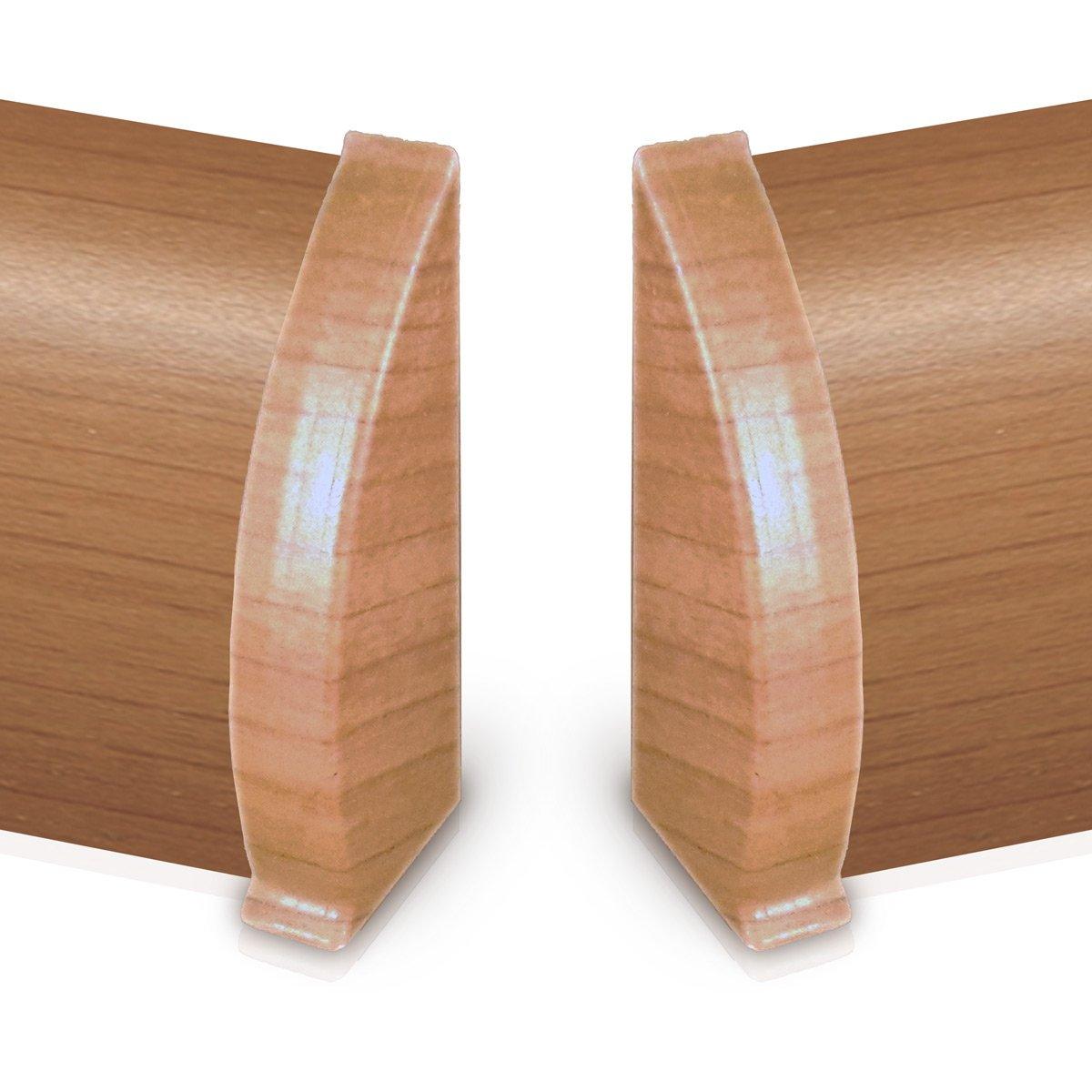1 Paar Endkappen f/ür Kabelkanal Sockelleiste in Buche Dekor 1 links, 1 rechts