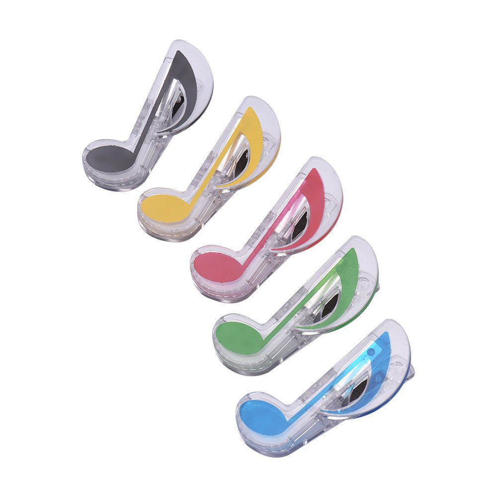 Muslady Music Clip Piano Book Page Clip Eighth Note Clips Bookmarks Accessories 5 Pack 1