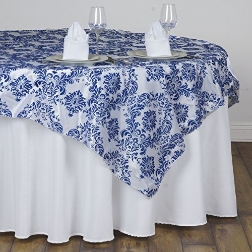 (BalsaCircle 90x90-Inch Royal Blue on White Damask Flocking Table Overlays - Wedding Reception Party Table Linens)