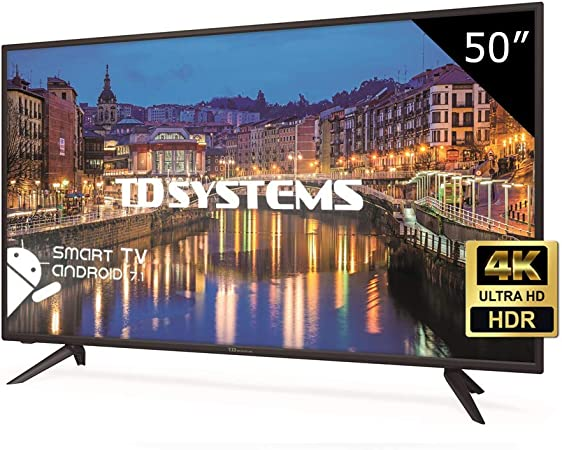 TD Systems K50DLH8US - Televisor Led 50 Pulgadas Ultra HD 4K Smart, resolución 3840 x 2160, HDR10, 3X HDMI, VGA, 2X USB, Smart TV.: Amazon.es: Electrónica