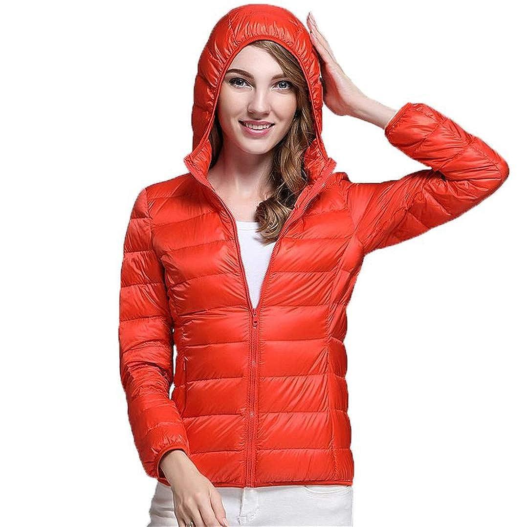 orange BiBOONES Women's Autumn and Winter 90% Ultra Light White Duck Down Jacket Warm Jacket