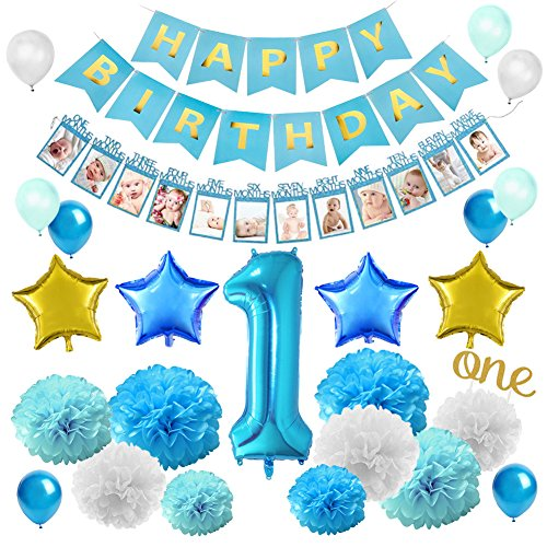 (KREATWOW First Birthday Decorations Set for Boy - 1st Baby Boy Birthday Party with Monthly Milestone Photo Banner from Newborn to 12)