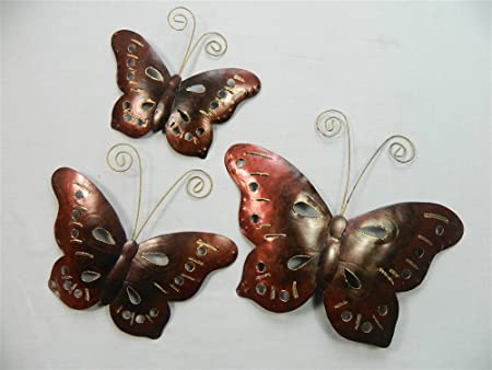 Butterfly Wall Art   Metal Butterflies, Butterfly   Copper Bronze   Set Of 3