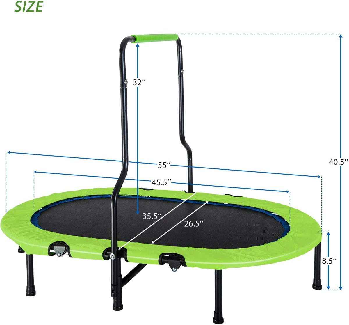 Foldable No-Spring Band Rebounder Green Merax Kids Trampoline with Handrail and Safety Cover Mini Trampoline for Two Kids
