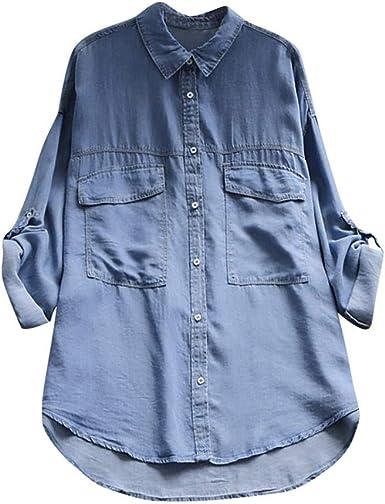 Blusas Camisas Mujer, Lunule Blusa de Manga Larga Casual de Mujer Camisas Vaqueras Mujer Camiseta Blusa Top para Mujer: Amazon.es: Ropa y accesorios