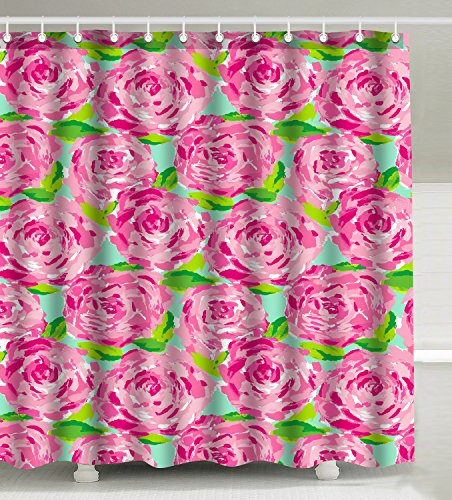Wknoon 72 x 72 Inch Shower Curtain Set, Abstract Vintage Pink Floral Print Hot Pink Rose Flowers Green Leaves Art First Impression (Lilly Pulitzer Bath Accessory Sets Shower Curtains)