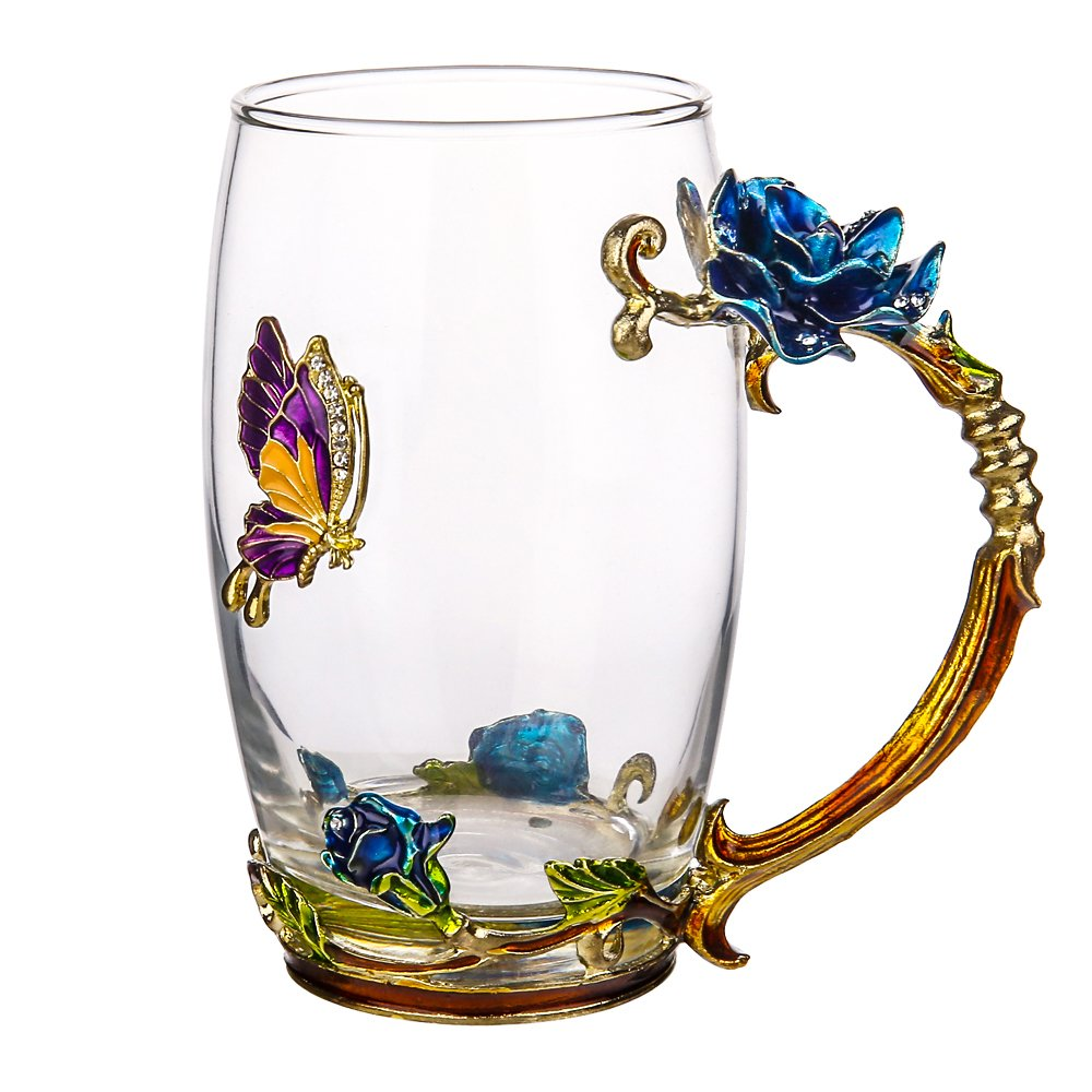 TIANG Glass Tea Cup, 12oz Lead Free Handmade Enamel Butterfly and Blue Rose Flower Tea Mug with Handle, Unique Personalized Birthday Gift Ideas for Women Grandma Mom Teachers Friend Hot Beverages